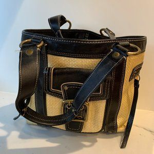 Coach raffia & leather tote bag